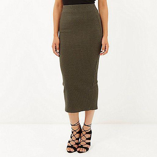 Khaki green ribbed maxi skirt - £25 #riverisland | A/W15 ...