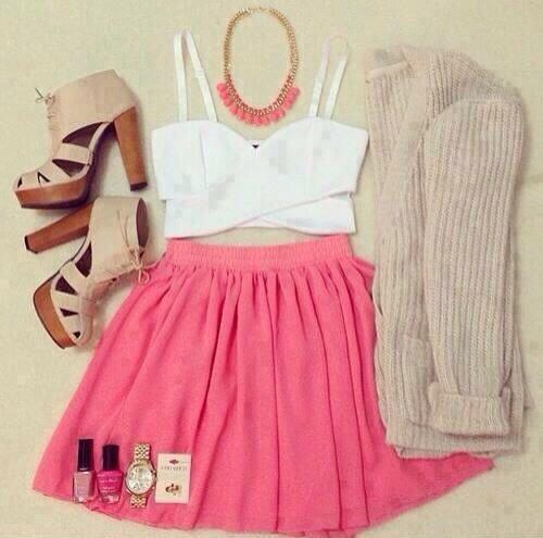 Crop top and high skirt
