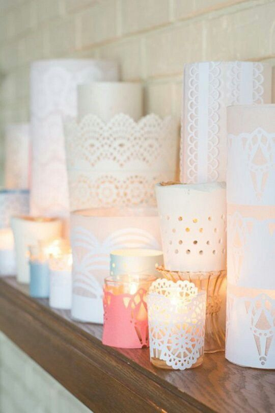 Design Momused paper and craft-store paper punches to give these simple votives a lacy look. A cluster of them would look beautiful at the center of a table.