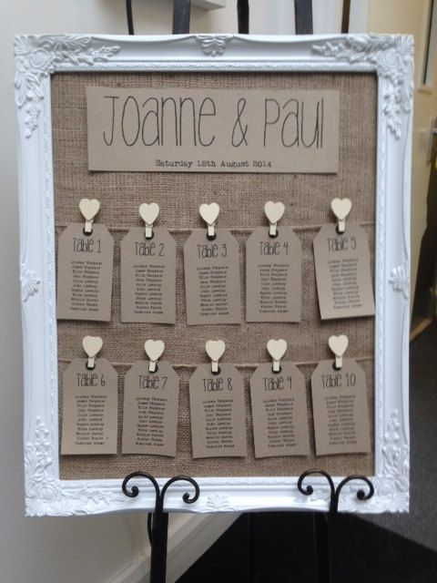 This listing is for ONE x Vintage/Rustic/Shabby Chic Framed Wedding Table Seating Plan    Frame size 46cm x 56cm Frame colour White    Hessian