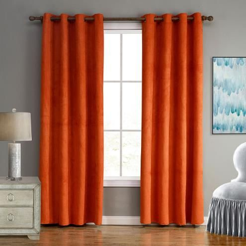Burnt Orange Simple Blackout Bedroom Curtains Panels Suede On Sale Curtains Living Room Orange Curtains Living Room Burnt Orange Living Room