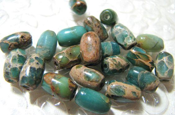 Blue Impression Jasper Rice bead destash. $3.74, via Etsy.