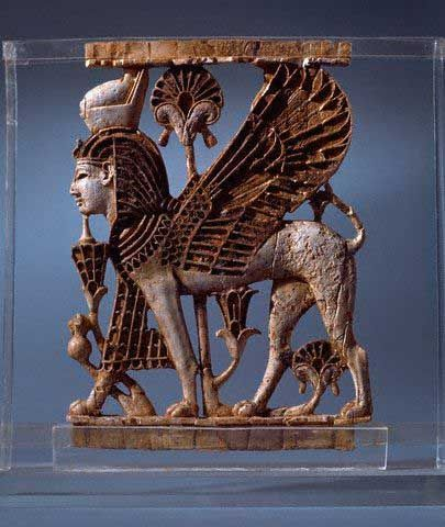 Here you can see, how this Sphinx is very similar to those in Babylon, and Mesopotamia. Egypt was full of idolatry and idols with human and animal characteristics Sphinx Ornament From a Throne 7th с BC