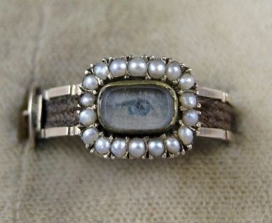 """lovers' eye hairwork pin from 1853 Fascinating """"Mourning Ring"""" with the eye to symbolize """"out of sight"""" but not forgotten"""
