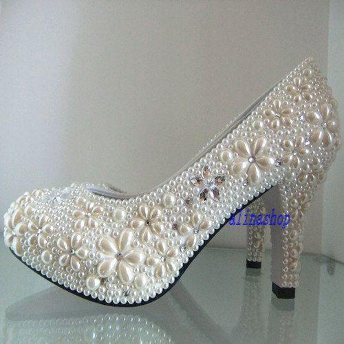 2 Inch Pearl Wedding Shoes Ivory Bridal Heels By AlinaShop 14000