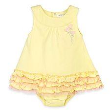 image of Petit Lem™ Little Heart Romper Dress in Yellow/Pink