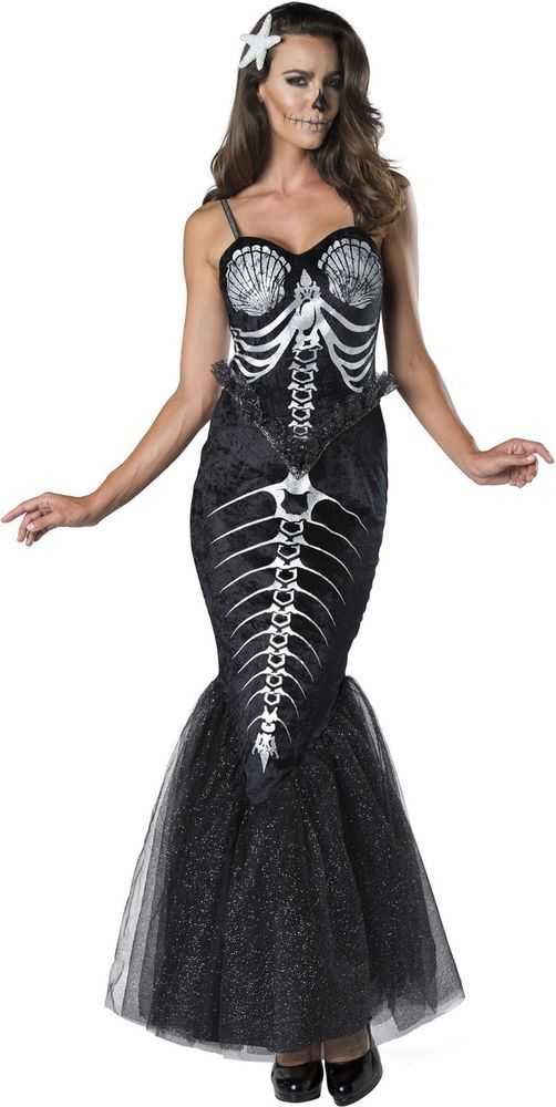 Adult Bones Skeleton Mermaid Gothic Costume