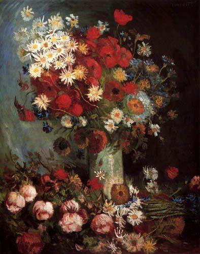 Vincent van Gogh - Vase mit Mohn, Kornblumen und Pfingstrosen