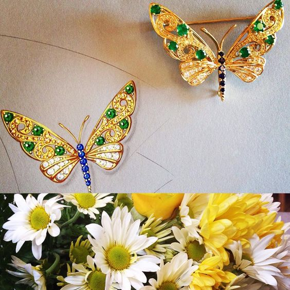 Jeweled butterfly rendering next to the finished piece... #customdesign #customdesignedjewelry #remyrotenier #emeralds #diamonds #sapphire #jewelry #jewellery #jewelbugs #jewelryaddict #jewelryartist #brooch