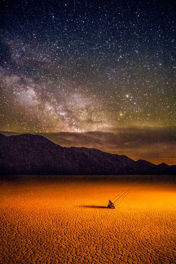 Milky Way with Moving Rock at Death Valley in Eastern California, USA