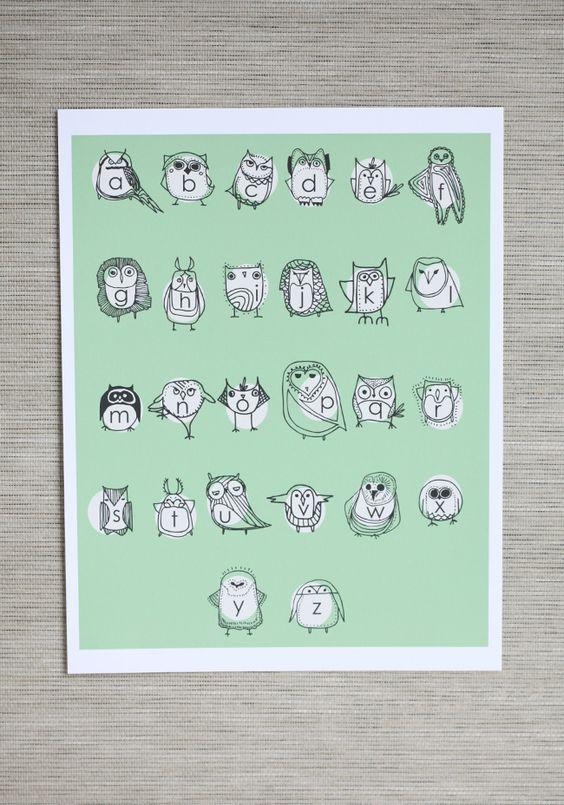 Owlphabet Indie Print