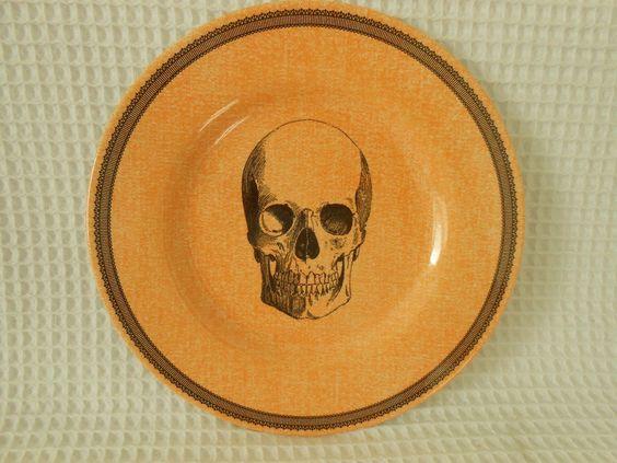 "Victorian English Pottery Skull Set of 4 8 1 2"" Orange Round Salad Plates New | eBay"