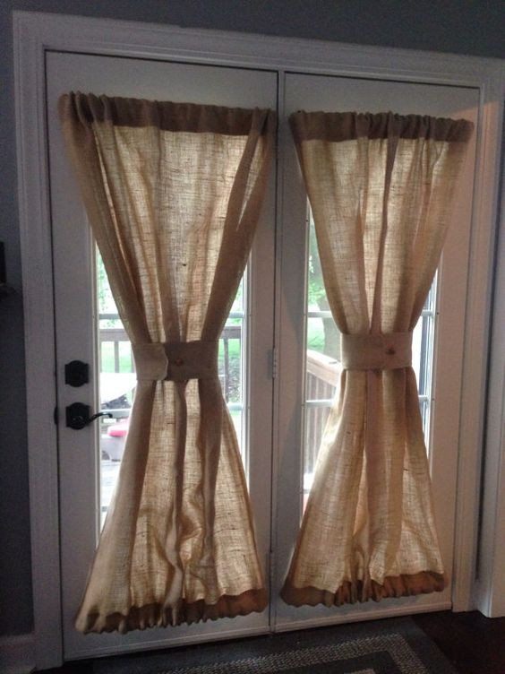 Burlap Sheers French Door Drapes Burlap Curtains French Country Window Treatment Burlap Panel Lined Burlap Drapes Custom Made to Order on Etsy, $8.00