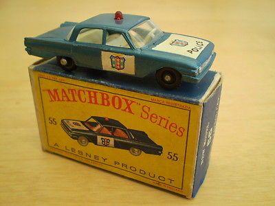 MATCHBOX LESNEY RW 1-75 No 55 POLICE PATROL CAR BPW VIRT MINT IN GOOD BOX - http://www.matchbox-lesney.com/?p=5981