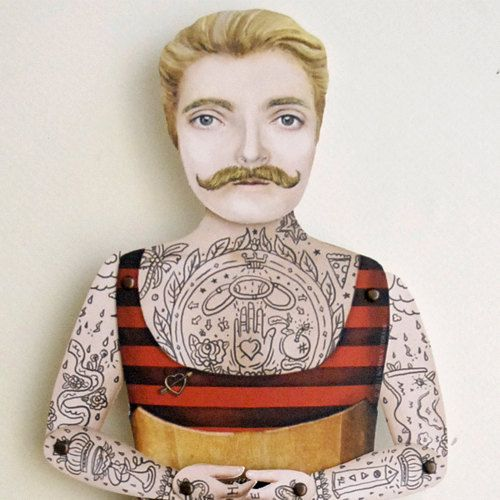 Victorian Tattooed Johnny Boy Paper Puppet