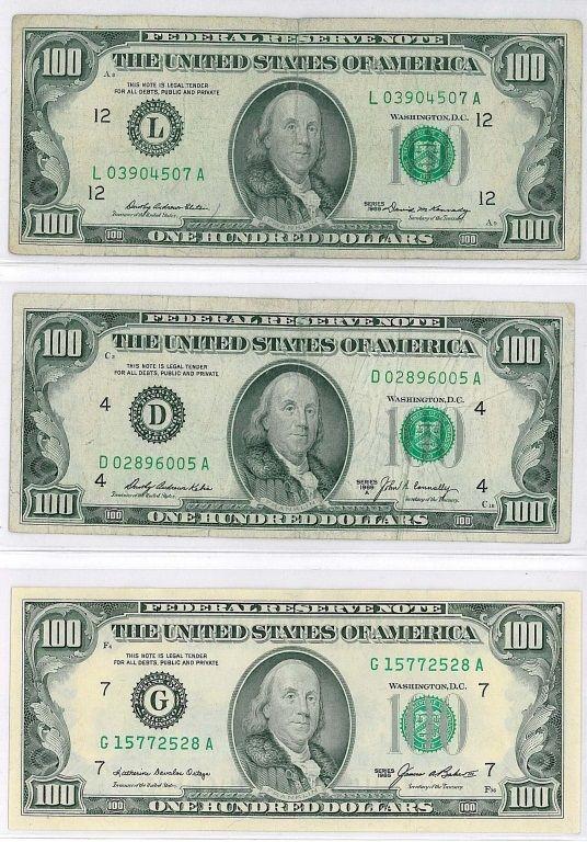 Three 3 One Hundred Dollar 100 Bills Dollar Money Collection Bills