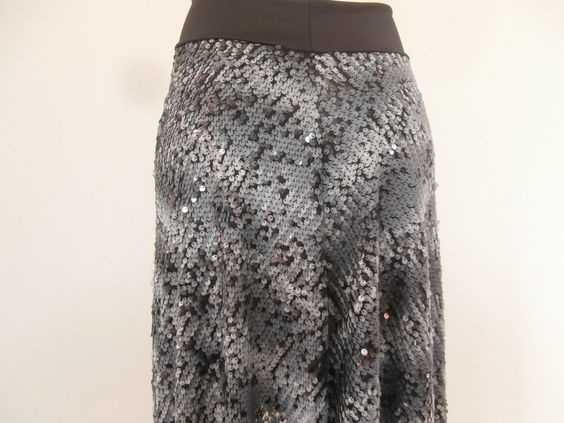 Argentine Tango Sequinn Skirt  / Jupe Size fits US 4 to 8  Milonga Dance Wear silver grey and black by COCOsDANCEWEAR on Etsy