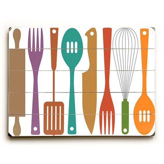 Kitchen Utensils by Artist Michael Dexter Wood Sign   eTriggerz - Wall Decor, Accents, Furniture and more!   www.etriggerz.com   Santa Ana, California