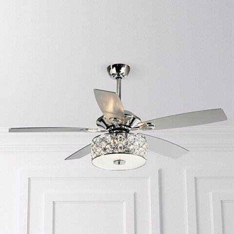 52 Inch Crystal Chandelier Chrome 5 Blade Ceiling Fan With Remote Ceiling Fan Chandelier Chandelier Fan Ceiling Fan
