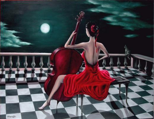 """Come la luna nei cieli azzurri,  io sono sola nella mia stanza,   piango per te che sei lontano e non saprai mai quanto ti amo.    Diprnto """"Sonata alla luna"""" (Marcello Corigliano)"""