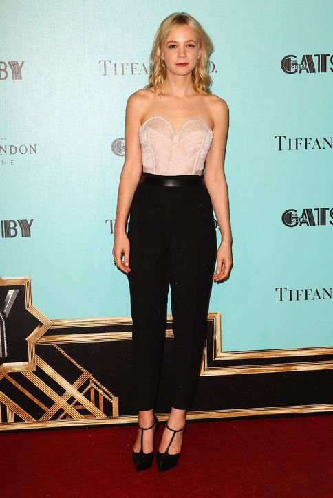 Carey Mulligan in a Nina Ricci blush-colored bustier top and black cropped pants for the Sydney premiere of The Great Gatsby.