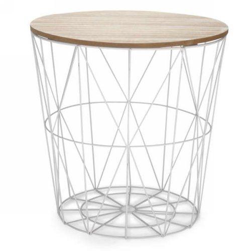 Panier En Metal Blanc Couv Naturel En 2020 Bout De Canape Metal Bout De Canape Et Table D Appoint Design