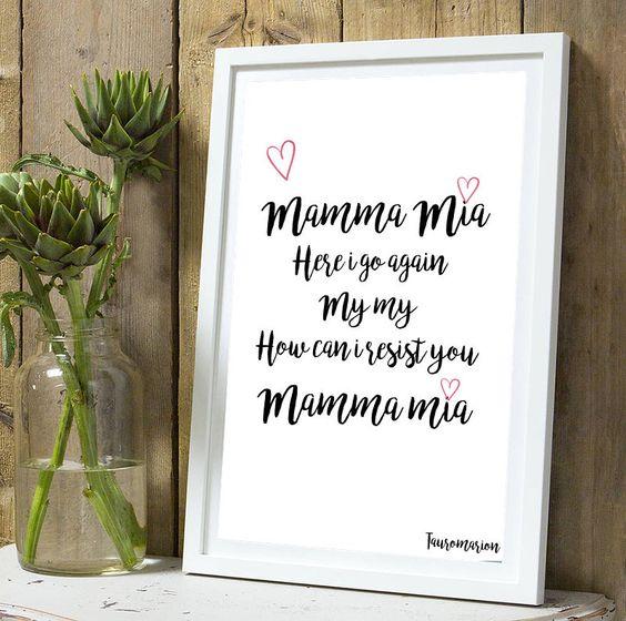 """Affiche """"Mamma mia"""" A4 sans cadre : Décorations murales par tauromarion"""