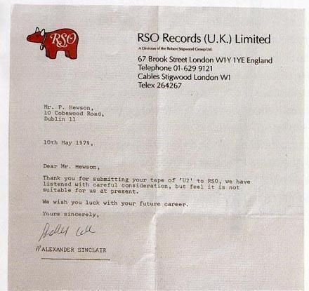 Historyinpix  A Rejection Letter Bono Received From A Record