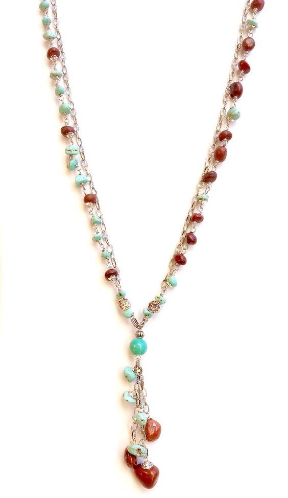 Dark Red Jasper and Turquoise Magnesite Gemstone Necklace