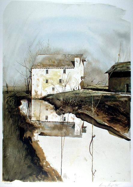 """Flour Mill"" 1985... 36"" x 24"" by Andrew Wyeth"