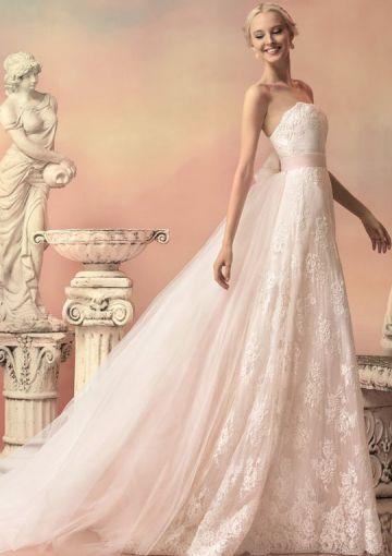 2016 A-Line Strapless Neckline Flowers Ribbon Lace Brush Organza Wedding Dresses 1513