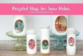 recycled jar snow globes, christmas decorations, crafts, decoupage, home decor, mason jars