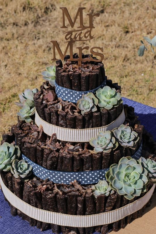 This Wedding Biltong Cake Has Accents Of Blue And Brown Made With