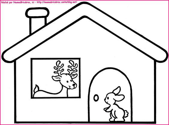 Dans sa maison un grand cerf coloriage pour illustr la comptine noel 5 - Dessin maison enfant ...