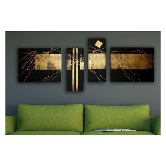 Tableau abstrait noir et or tableau abstrait deco soon tableau peinture - Tableau noir pas cher ...