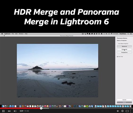 Video tutorial that shows how to use the new HDR merge and panorama merge in Lightroom 6.