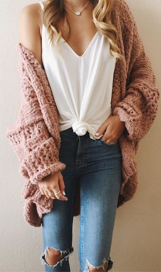 Pink cardigans sweaters are perfect transition pieces from spring to summer