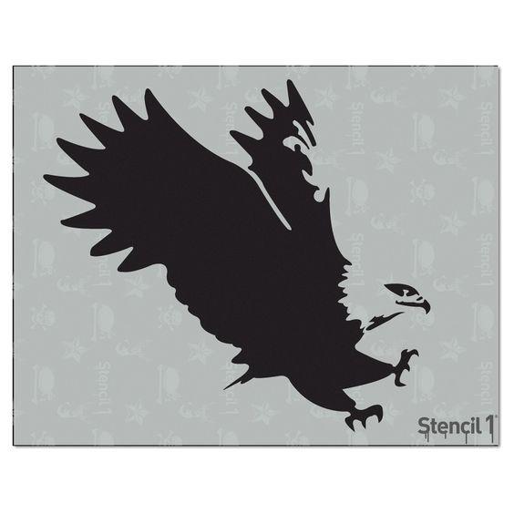 """Stencil1 Eagle 8.5""""X11"""", White"""