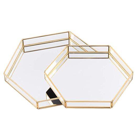 Amazon Com Koyal Wholesale Glass Mirror Hexagonal Trays Vanity Set Of 2 Gold Decorative Mirrored Hexagon Trays For Cof Glass Mirror Vanity Set Hexagon Mirror