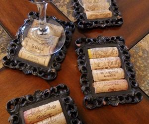 DIY Rustic Cork Coasters Using Small Picture Frames love!