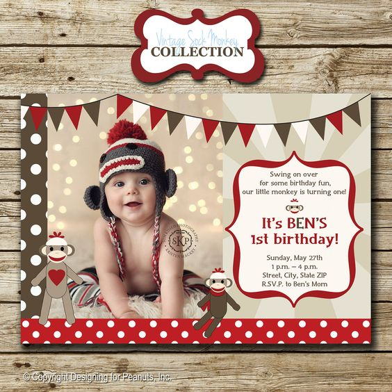 Sock Monkey Birthday Party Photo Invitation in red, brown, and tan, invite, printable, digital. $15.00, via Etsy.