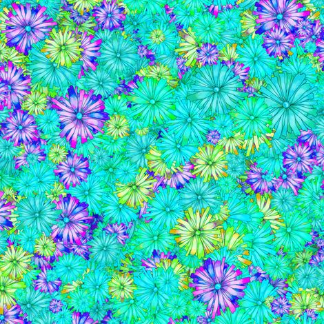 BLOSSOM SEASON AQUATIC TURQUOISE fabric by paysmage on Spoonflower - custom fabric