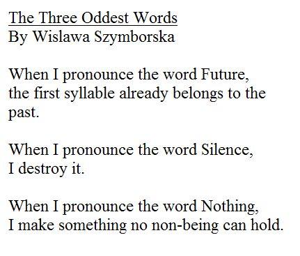 the three oddest words wislawa szymborska words