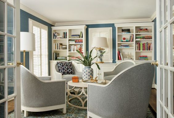 Blue Contemporary Reading Parlor: