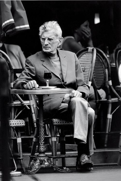 Samuel Beckett waiting for Godot outside Paris café, 1988. 'I have loved books all my life. There is nothing more beautiful in our material world than the book.' Patti Smith.
