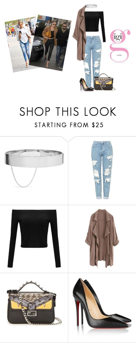 """""""A day with Gigi Hadid"""" by katrineculmsee ❤ liked on Polyvore featuring Eddie Borgo, Topshop, Fendi and Christian Louboutin"""