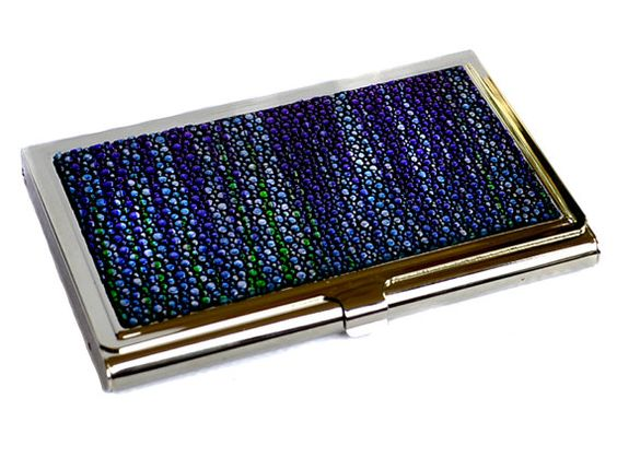 Metallic Blue Streaked Stingray Leather Business Card by UNEARTHED, $60.00
