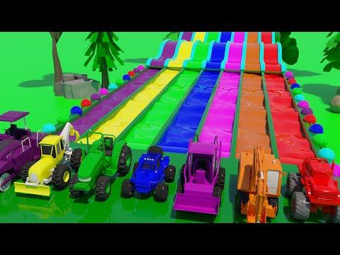 Learn Colors With Construction Vehicle In Magic Water Slide For Kids Youtube