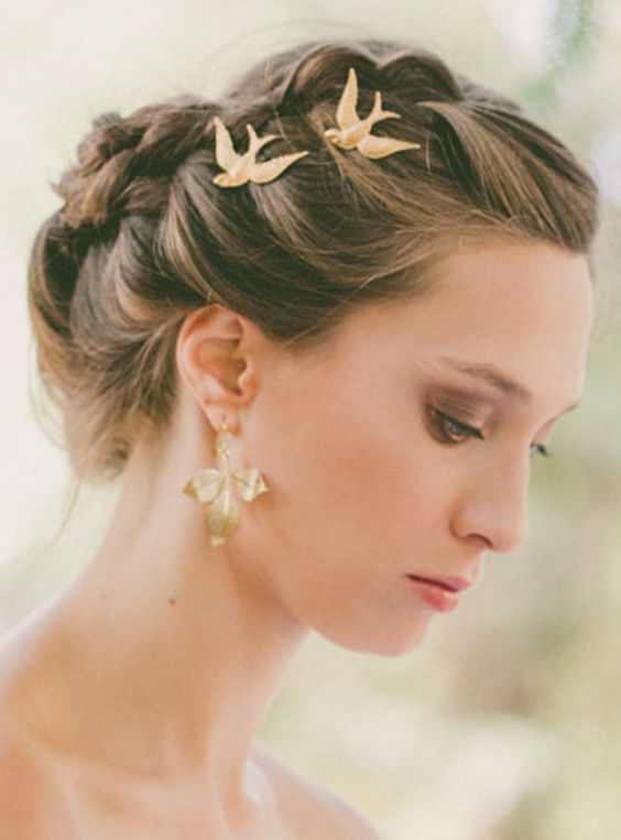 Gold Bird Bobby Pin Hair Clips