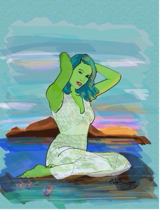 Sirena al atardecer
